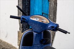 PA044683 Italy Sicily Panarea (Dave Curtis) Tags: stromboli island 2013 em5 europe omd olympus blue scooter door