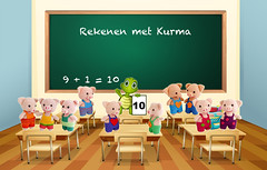 10 Rekenen met Kurma - 10 varkens (Kurma's Creative World) Tags: illustration graphic drawing cartoon picture clipart learning studying classroom board blackboard chalkboard table desk chair chairs furniture room knowledge education elementary secondary uniform dresscode backpack backtoschool happy empty blank floor wall frame wood inside indoor kindergarten stationary accessory