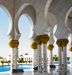 Prayer Mats, Grand Mosque (Rod Waddington) Tags: abu dhabi grand mosque prayer mats rugs islam islamic design modern architecture arch building water outdoor tiles