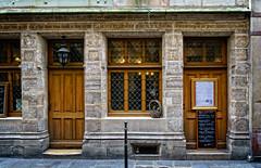 Auberge Nicolas Flamel (Tigra K) Tags: paris ledefrance france fr 2016 architdetail cafe carving city door lantern lattice travel typeface window