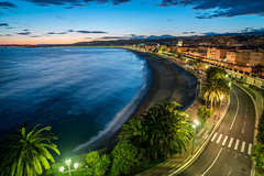 Post Sunset Blues - Nice, France - I (lncgriffin) Tags: nice nizza france rpubliquefranaise europe europa hotelsuisse sunset mediterraneansea skyline oldtown promenadedesanglais vieilleville eyeofnice frenchriviera cotedazur palmtrees bluehour travel nikon d750 zeiss distagon distagon2128zf hdr
