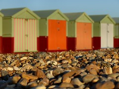 Golden pebbles (sunset1uk) Tags: beachhuts pebbles sunset hoveseafront hove brighton eastsussex england