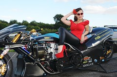 Holly_9811 (Fast an' Bulbous) Tags: top fuel bike motorcycle nitro fast speed power santa pod pits race track strip drag santapod girl woman biker chick babe long brunette hair red shoes stilettos high heels leather pvc jeans leggings beauty model pinup outdoor people