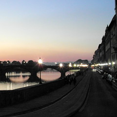 florence blue hour (3) (kexi) Tags: florence firenze florencja italy europe toscany tuscany thebluehour sky blue street lights buildings samsung wb690 october 2015 arno river water square bridge pink instantfave