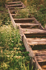 Unstabble Steps (J&E Adventures) Tags: wood uppermichigan ishootfilm nature exploring up canon 35mm film michigan canona1 upperpeninsula steps forest puremichigan ironmountain michigancoast filmphotography ladder woods