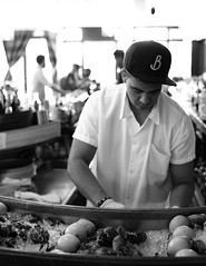 shucking oysters at Grand Army, Boerum Hill, Brooklyn, New York City, USA (Plan R) Tags: blackandwhite monochrome oyster restaurant bar grand army brooklyn new york city nyc leica m 240 summilux
