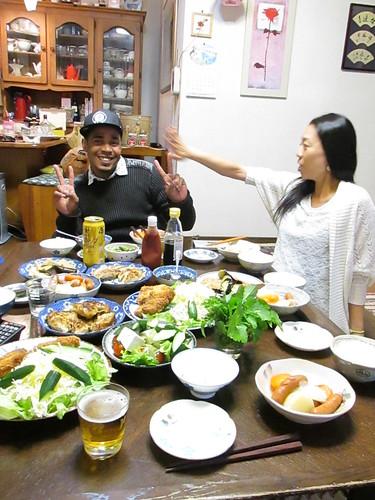 Repas en famille, vers Nagoya, Japon
