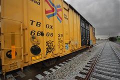 Streaks (Rap Letters, Yo.) Tags: art rain train photography graffiti boxcar streaks freight stormcloud freighttrain tbox