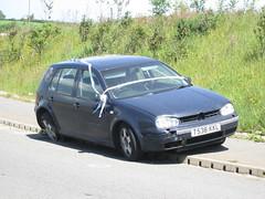 Crashed Golf. (RUSTDREAMER.) Tags: rustdreamer cornwall volkswagen golf crashed scrap policeaware
