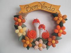 Guirlanda Caracol (lindas_artsbrasil) Tags: casa flor guirlanda porta fuxico decoração enfeite