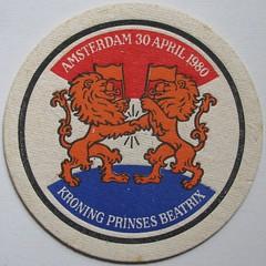 beermat (streamer020nl) Tags: holland netherlands amsterdam heineken lion beermat carton nl beatrix 1980 coaster leeuw koningin prinses bierviltje untersetzer bierfilz kroning 300480
