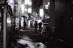 The Dark Of Night (Explored) (OzGFK) Tags: street people film japan night analog dark tokyo alley asia shibuya lane nikkor nikonfm3a