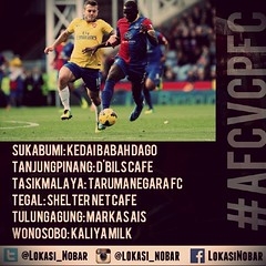 Lokasi Nobar: @ARSENAL VS CRYSTAL PALACE #MUFC vs #SWANSFC #LCFC vs #EFC #QPR vs #HCFC #SCFC vs #AVFC #WBAFC vs #SAFC #WHUFC vs #THFC #AFC vs #CPFC #LFC vs #SFC #NUFC vs #MCFC #BFC vs #CFC (lokasinobar) Tags: barcelona madrid city milan roma liverpool indonesia manchester real bayern la football chelsea soccer united bola arsenal serie juventus tottenham inter bareng psg liga epl suporter persija lokasi nonton persib a sepakbola nobar arema kuliner nonbar
