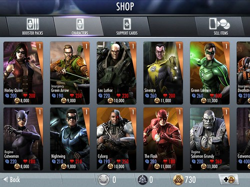 Injustice: Gods Among Us Items Store: screenshots, UI