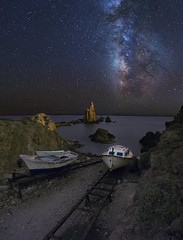 Journey to the stars (Perez Alonso Photography) Tags: longexposure sea sky espaa seascape beach stairs creek stars landscape mar spain barco ship playa cielo estrellas astronomy mermaid universe astronomia almeria siren cabodegata escaleras milkyway universo largaexposicin canon1740 arrecifedelassirenas canon6d valactea