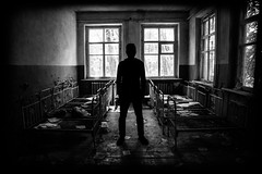 DSC00854 (FarewellFire) Tags: school house abandoned broken leaves metal bed nursery communism radioactive ladder radiator destroyed bunk socialism sovietunion chernobyl danielgustafson ukraineselfportrait