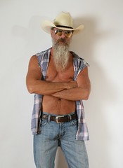 Tuesday (Cowboy Tommy) Tags: blue portrait hairy hot sexy pecs muscles sex fur goatee belt model cowboy nipples muscle packing chest manly tan shades jeans western suntan denim guns redneck mustache plaid toned levis package buckle rugged bulge bluecollar selfie lanky sleeveless lowrise treasuretrail unbutton facefur