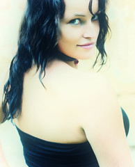 The Model (Batram) Tags: black sexy green eye girl germany hair model top next frau shoulder mdchen