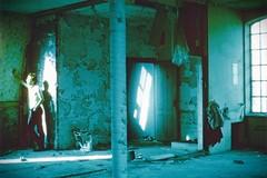 Lys på væg (Fotodæmonen) Tags: blue factory postmodern surreal canonae1 obscure forgottenplaces ryesgade