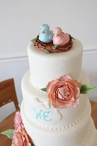 Love Birds nest peony wedding cake close up