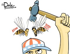 Assad or ISIS cartoon (DSL art and photos) Tags: hammer iraq syria conundrum isis obama mideast assad dilemma editorialcartoon behead donlee