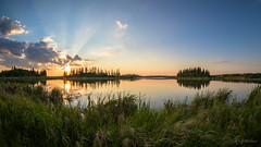 Islands of Astotin Lake (WherezJeff) Tags: ca sunset lake canada islands alberta archer elkisland crepuscular griesbach fortsaskatchewan astotin