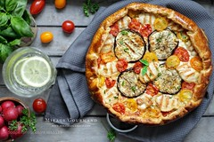 Galette with grilled chicken (SeattleHVAC172) Tags: water vintage bright wood home food still life kitchen lemon hot grey meat round goat towel colorful drink vegetables pizza tasty table rustic interesting decoration chicken lunch cook tomato dinner bake styling cheese snack comfort recipe radish dough grill cutting board tray basil leaves cherry served mozzarella aubergines galette ready eat mirage gourmand