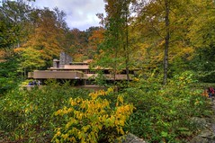 Nestled in the Colors (trainmann1) Tags: nikon d90 tokina 1116mm amateur handheld fallingwater franklloydwright fallingwaterhouse house retreat nature architecture design october 2016 stunning beautiful gappa pa pennsylvania westernpennsylvaniaconservancy 1939 fall autumn hdr highdynamicrange photomatix leaves trees green yellow orange red obstructed millrun millrunpa