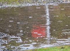 Red Flag in the Rain (manxmaid2000) Tags: rain reflection red flag puddle raindrop danger warning ripple water outdoor uk weather range shooting shoot wet reflect