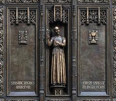 St Isaac Jogues SJ (Lawrence OP) Tags: newyork stpatricks cathedral bronze doors statuette stisaac jogues jesuit saint martyr