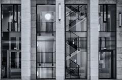 Unintentional Selfie (katrin glaesmann) Tags: tower185 frankfurt skyscraper wolkenkratzer christophmckler 20082011 t185 ontourwithnicolerolandundholgerstairs staircase blackandwhite monochrome selfie window reflection
