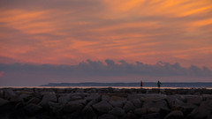 On the Breakwater (Bud in Wells, Maine) Tags: drakesisland sunset wells maine breakwater jetty clouds