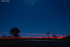 Blue Night Sky (MichaelaSMillion) Tags: sky blue streak light lighting red blues dark night exposure long tree trees outside outdoors star stars skies