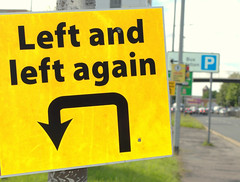 Left and left again (Tony Worrall) Tags: preston north northwest lancs lancashire england northern uk update place location visit area county attraction open stream tour country welovethenorth unitedkingdom sign life metal yellow turn signage politics political