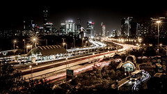Cityscape (Yam Amir) Tags: cityscape night cars lighttrail lighttrails train nikon yamamir longexposure tel aviv