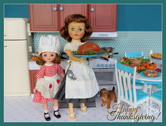 15. Happy Thanksgiving! (Foxy Belle) Tags: betsy mccall cook vintage doll thanksgiving holiday kitchen diorama 16 playscale miniature turquoise food barbie furniture scene aprons retro