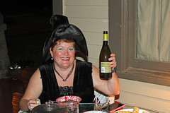 Witch & Wine (babyfella2007) Tags: irradio italian vintage radio burl walnut antique old halloween michelle carson grant winnsboro sc south carolina dress up costumn witch harry potter trick or treat eating wine fun child young pretty night time dark jason taylor