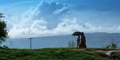 Mother and child (Sajeeb75) Tags: landscape outdoor sky cloud mountain women child green black blue bangladesh