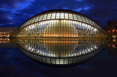 El Ojo de Valencia (manuelecant) Tags: valencia hemisferic spain calatrava bluehour eye architecture water glass sphere nikon d5500 hdr ciudad de las artes simmetry