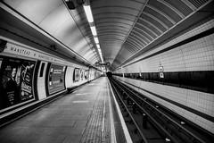 Wanstead Station (cuppyuppycake) Tags: wanstead station london england uk tibe bnw black white blackandwhite underground train lights circle stripes