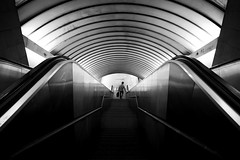 (cherco) Tags: alone solitario silhouette solitary silueta shadow sombra composition composicion city canon ciudad blackandwhite blancoynegro down stairs escaleras street calle bw lonely station vanishingpoint man