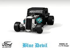 Ford 1933 Custom V8 Coupe - Blue Devil (lego911) Tags: ford 1933 1930s classic model 40 oldsmobile v8 coupe blue devil custom kustom usa america auto car moc miniland lego 911 ldd render cad povray lugnuts challenge 109 deuceswild deuces wild lego911 foitsop