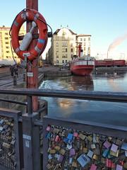 Safety first (KaarinaT) Tags: lifesaver lovelocks ice ship kruununhaka bridge helsinki finland water sea kauppatori