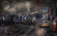 Fast Food (brian_stoddart) Tags: trains transport railways people india moon smoke food station