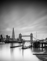 Down Stream (TS446Photo) Tags: contrast weather london long exposure city nikkor nikon zeiss noiretblanc blackandwhite water river tower bridge