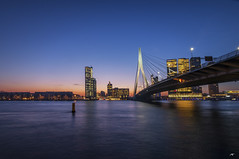 Erasmusbrug at Dawn (koolbram) Tags: dawn sunset brug bridge erasmus erasmusbrug rotterdam nederland netherlands holland madeinholland city cityscape skyline stad culture outdoor cold blue hour sun light lights water canal river maas nikon d90 tokina 1116mm nd nd110 filter dutch europe europa rijnmond gers triggertrap