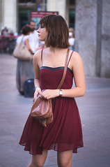 Searching (haz_fenrir15) Tags: red portrait people italy woman milan canon dress 60mm tamron lightroom 60d