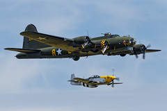Boeing B-17G Flying Fortress and North American P-51D Mustang - 2 (NickJ 1972) Tags: aviation airshow b17 duxford boeing mustang flyingfortress dfa p51 2014 iwm northamerican sallyb memphisbelle flyinglegends gbedf ferociousfrankie 124485 gbtcd 413704 b7h