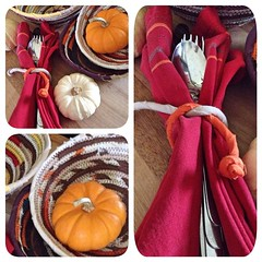 "Our Thanksgiving table items are coming along nicely if I do say so myself. I even discovered that our handwrapped fabric coil makes a lovely napkin ring. I hope that you like it as much as I do! • <a style=""font-size:0.8em;"" href=""http://www.flickr.com/photos/54958436@N05/14955053183/"" target=""_blank"">View on Flickr</a>"