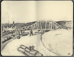 Mississippi River at Dubuque Sketch (Marcia Milner-Brage) Tags: sketch mississippiriver urbanlandscape dubuqueiowa 5bpencil pocketsizemoleskine marciamilnerbrage